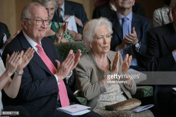 King Albert II of Belgium and Queen Paola of Belgium attend a concert at the Music Chapel to celebrate Paola's 80th anniversary on June 29 2017 in...