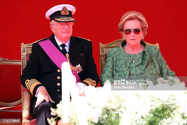 King Albert II of Belgium and Queen Paola of Belgium seen during the Civil and Military Parade during the Abdication Of King Albert II Of Belgium, &...