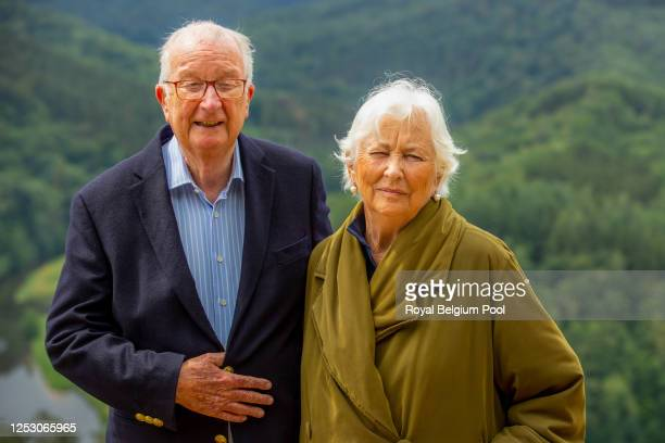 King Albert II of Belgium and Queen Paola of Belgium visit the Giant's Tomb or Le Tombeau du Geant, on June 28, 2020 in Bouillon, Belgium.The Royal...