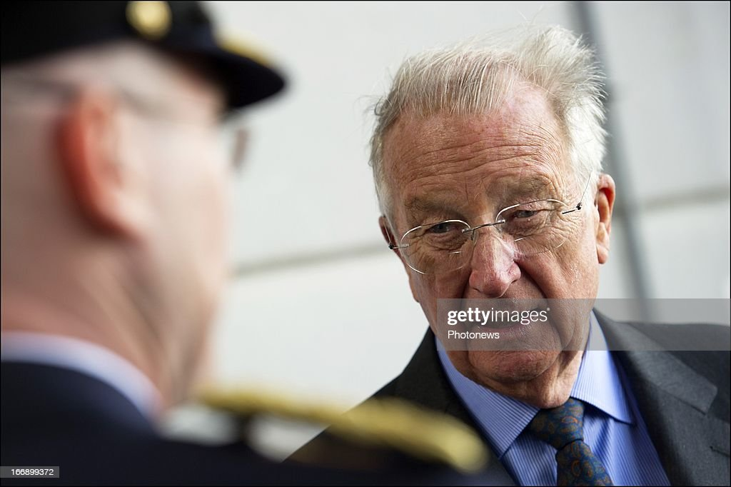 King Albert II of Belgium (R) during his visit to the Civilian Protection Unit in Ghlin on April 18, 2013 in Ghlin, Belgium.