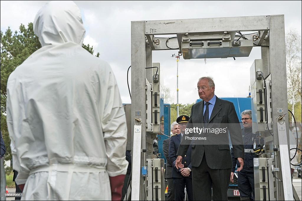 King Albert II of Belgium during his visit to the Civilian Protection Unit in Ghlin on April 18, 2013 in Ghlin, Belgium.