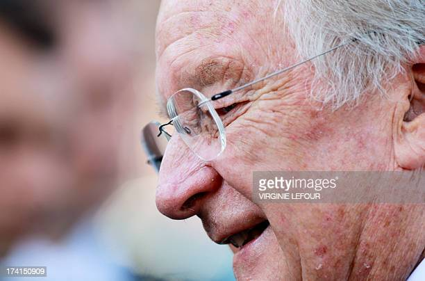 King Albert II of Belgium is pictured after attending the Te Deum mass on the occasion of Belgian National Day at the Saint Michael and St Gudula...