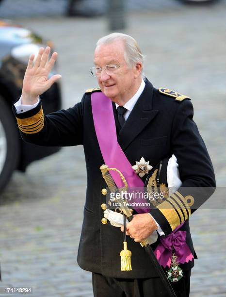 King Albert II of Belgium is seen in front of the Cathedral of St Michael and Saint Gudula prior to the Abdication Of King Albert II Of Belgium &...
