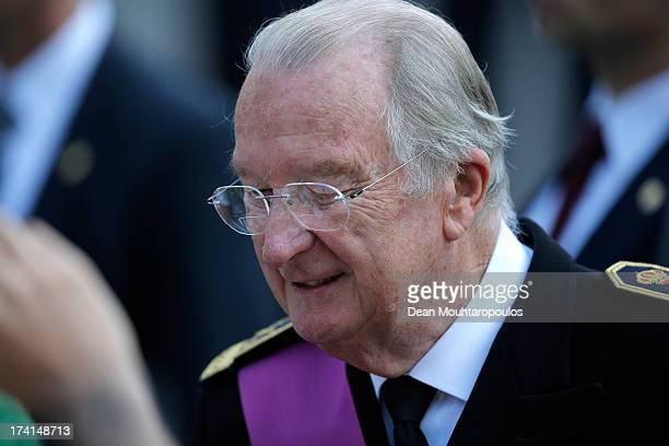 King Albert II of Belgium is seen in front of the Cathedral of St Michael and Saint Gudula prior to the Abdication Of King Albert II Of Belgium, &...