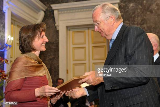 King Albert II of Belgium presents the Francqui Award 2012 to Connie Aerts Professor of Astronomy at the Catholic University of Leuven on June 13...