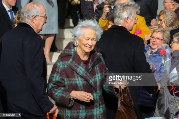 King Albert II of Belgium Queen Paola and King Philippe of Belgium attend the Annual Memorial Mass for deceased members of the Royal Family at the...