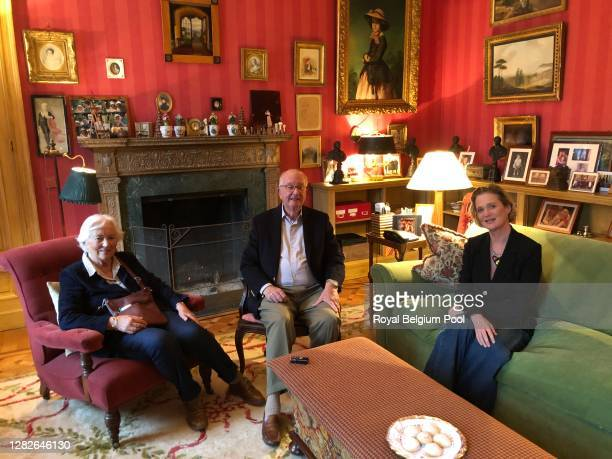 King Albert II of Belgium, Queen Paola and Princess Delphine of Belgium pose at Château du Belvédère after a meeting on October 27, 2020 in Brussels,...
