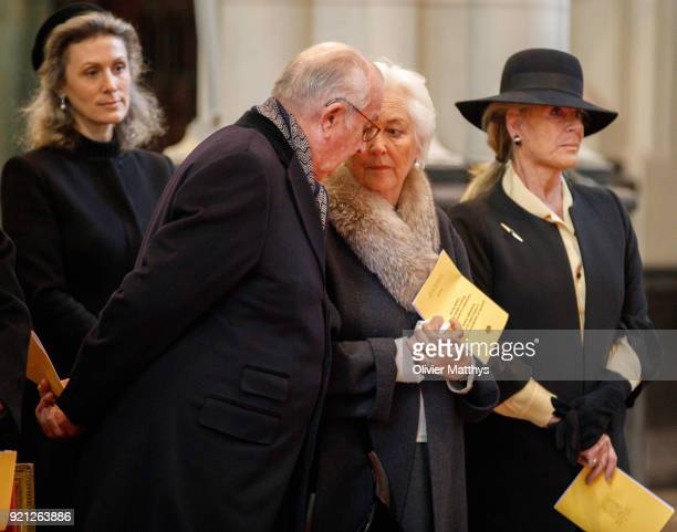 King Albert II of Belgium Queen Paola of Belgium and Princess Lea of Belgium attend a mass commemoration at Our Lady Church on February 20 2018 in...
