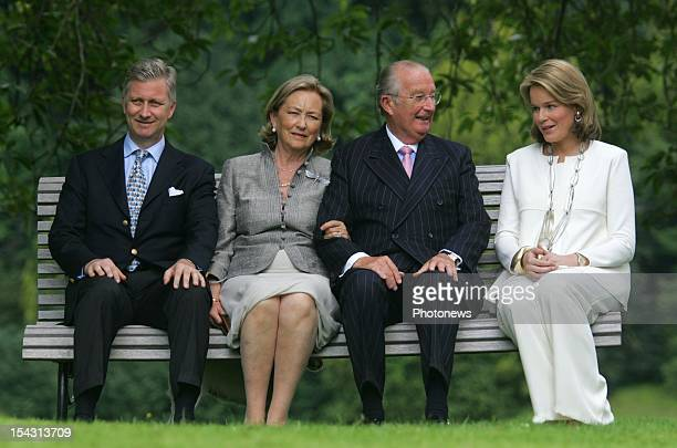 King Albert II of Belgium Queen Paola Prince Philippe and Princess Mathilde at the Royal Castle in Laeken