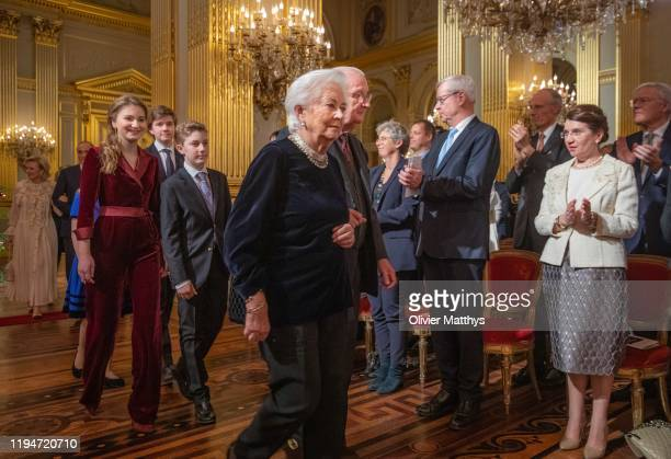King Albert II of Belgium Queen Paola Princess Elisabeth and Prince Emmanuel attend the Christmas Concert in the Royal Palace on December 18 2019 in...