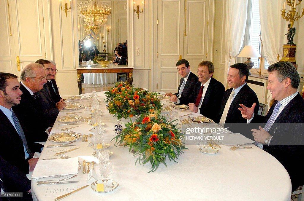 King Albert II of Belgium (2 nd-L) receives King Abdullah II Bin al Hussein of Jordan (2 nd-R) for a working lunch at the Royal Castle of Laeken, near Brussels, 25 November 2004. FROM L-R Prince Ali Bin Al Hussein, King Albert II of Belgium, Jordanian Minister Sarnir Al-Rifal, Jordanian Ambassador to Belgium Muhyieddeea Touq, Jordanian Minister of Cooperation Bassem Awadallah, Belgian Prime Minister Guy Verhofstadt, King Abdullah II of Jordan and Belgian Foreign Minister Karel De Gucht.