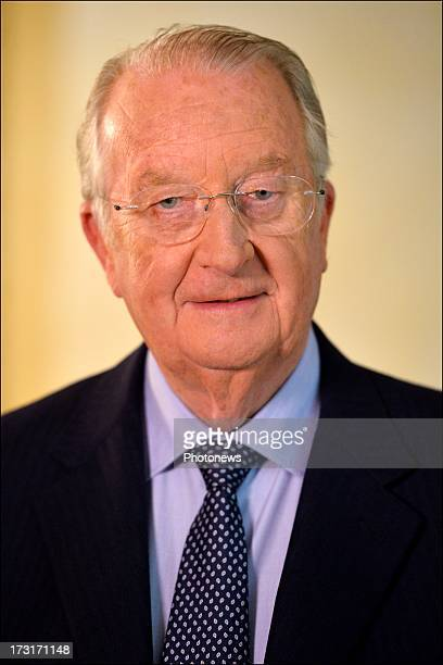 King Albert II of Belgium speaks during his press conference announcing his abdication as King of Belgium on July 3 2013 in Brussels Belgium His son...