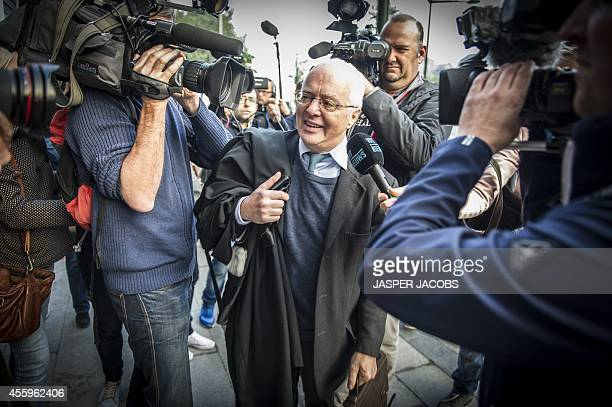 King Albert II's lawyer Alain Berenboom talks to journalists as he arrives at the Brussels Trial Court of First Instance on September 23 2014 in...