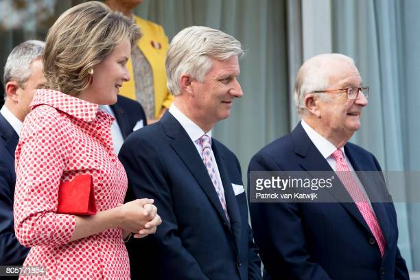 King Albert King Philippe and Queen Mathilde of Belgium attend the 80th birthday celebrations of Belgian Queen Paola on June 29 2017 in Waterloo...