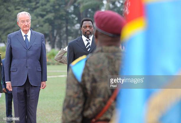 King Albert of Belgium and Congolese President Joseph Kabila pose for a photo at the Palais des Nations on 28 June 2010 in Kinshasa Congo King Albert...