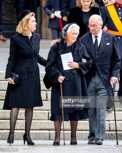 King Albert of Belgium and Queen Paola of Belgium and Princess Sybilla of Luxembourg attend the funeral of Grand Duke Jean of Luxembourg on May 04...