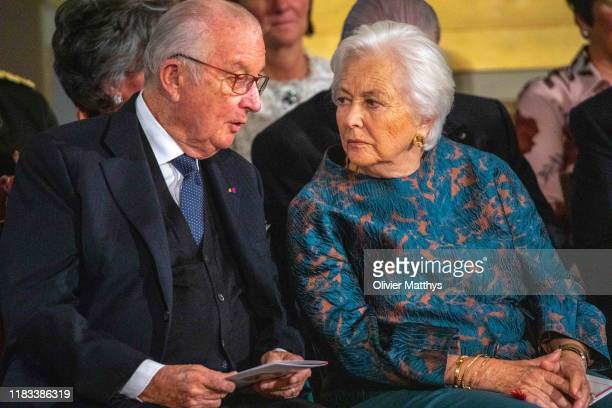 King Albert of Belgium and Queen Paola of Belgium attend Crown Princess Elisabeth of Belgium's 18th birthday at the royal palace on October 25 2019...