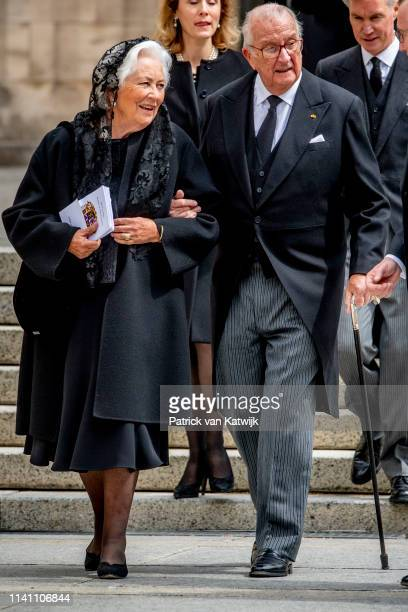 King Albert of Belgium and Queen Paola of Belgium attend the funeral of Grand Duke Jean of Luxembourg on May 04 2019 in Luxembourg Luxembourg