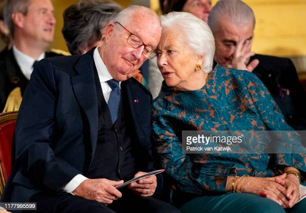 King Albert of Belgium and Queen Paola of Belgium during the 18th birthday celebration of the Crown Princess in the Royal Palace on October 25 2019...