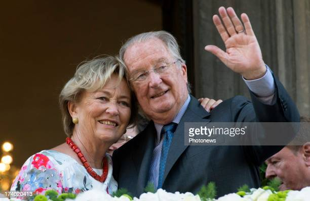King Albert of Belgium and Queen Paola of Belgium during their last official visit as King and Queen of Belgium on July 19 2013 in Liege Belgium