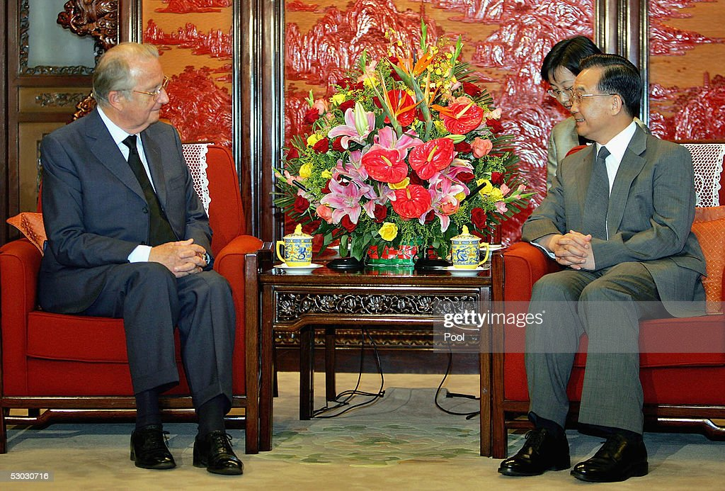 King Albert of Belgium (L) meets with Chinese Premier Wen Jiabao (R) at Beijing's Zhongnanhai on June 7, 2005 in Beijing, China. King Albert is on an eight-day visit to China, seeking to bolster trade and political co-operation with the emerging Asian power.