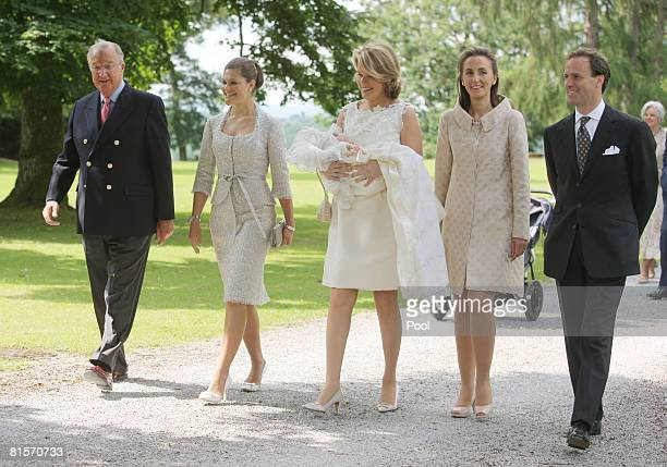 King Albert of Belgium Princess Victoria of Sweden and Princess Mathilde of Belgium carrying Princess Eleonore of Belgium Princess Claire of Belgium...