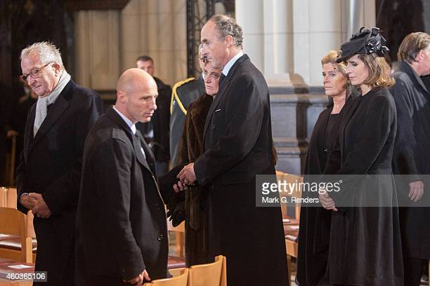 King Albert, Prince Lorentz and Princess Astrid of Belgium attend the funeral of Queen Fabiola of Belgium at Notre Dame Church on December 12, 2014...