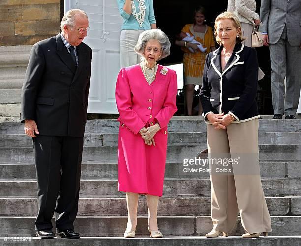 King Albert, Queen Fabiola and Queen Paola celebrate the 80th birthday of Queen Fabiola of Belgium at Laken Royal castle.