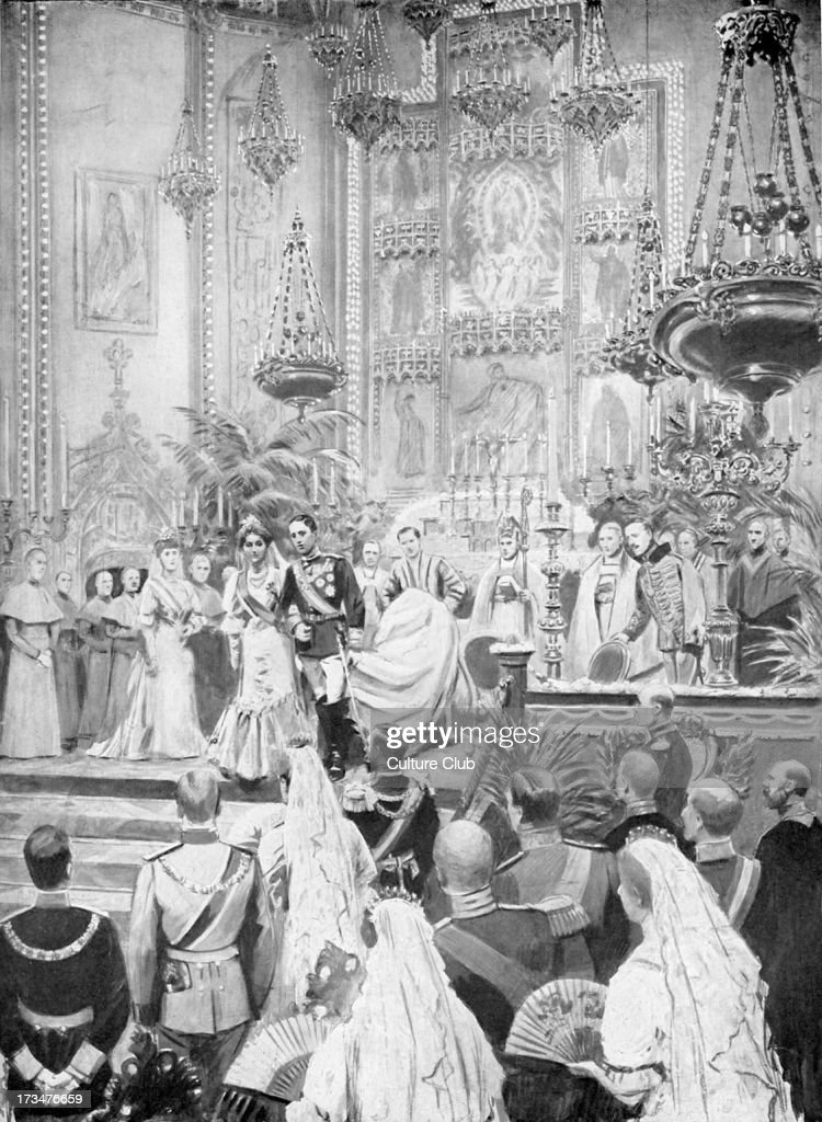 King Alfonso of Spain 's marriage to Princess Victoria Eugenie Ena - Madrid, 31 May 1906. Niece of Edward VII. From illustration of S. Begg of the period, showing the couple leaving the altar in the Church of San Geronimo. Alfonso XIII of Spain, King of Spain from 1886 until 1931, 17 May 1886 – 28 February 1941.