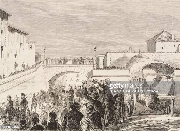 King Alfonso XII at the beginning of military operations in Tafalla, Spain, Carlist Wars, illustration from La Ilustracion Espanola y Americana...
