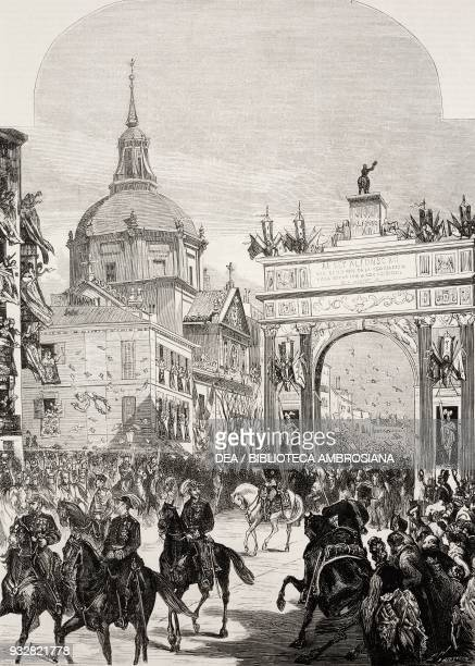 King Alfonso XII making his way into Madrid, passing under the triumphal arch erected on Calle de Alcala , Spain, illustration from La Ilustracion...