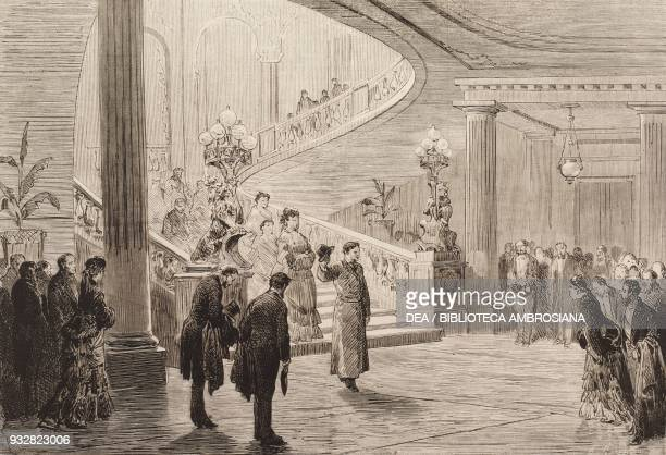King Alfonso XII of Spain at Basilewsky palace, Paris, France, illustration from La Ilustracion Espanola y Americana magazine, Year 19, Number 4,...