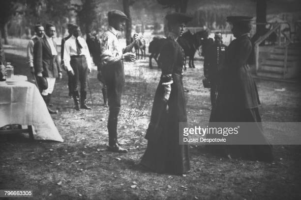 King Alfonso XIII in company with Lady Beatrice Princess of SaxeCoburg and Gotha at Palacio Real de La Granja San Ildefonso Spain