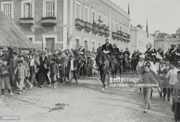 King Alfonso XIII of Spain entering Melilla Spain from L'Illustrazione Italiana Year XXXVIII No 4 January 22 1911