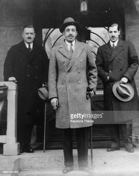 King Alfonso XIII of Spain walks out of the hospital where he has visited his daughter circa 1930 in Lausanne Switzerland