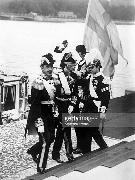 King Alfonso XIII of Spain with King Gustaf of Sweden and his younger son Prince Sigvard during his official visit in 1928 in Stockholm Sweden