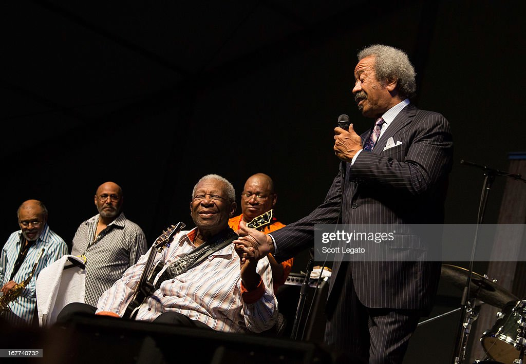 BB King (L) and Allen Toussaint perform during the 2013 New Orleans Jazz & Heritage Music Festival at Fair Grounds Race Course on April 28, 2013 in New Orleans, Louisiana.