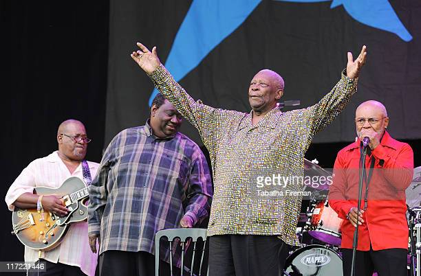 King and his blues bland perform on the Pyramid stage during the second day of Glastonbury Festival 2011 at Worthy Farm on June 24, 2011 in...