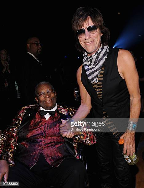 B King and Jeff Beck attend the 25th Anniversary Rock Roll Hall of Fame Concert at Madison Square Garden on October 29 2009 in New York City