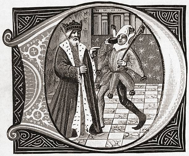 King And Jester Early 15Th Century From The Book Short History Of The English People By JR Green Published London 1893