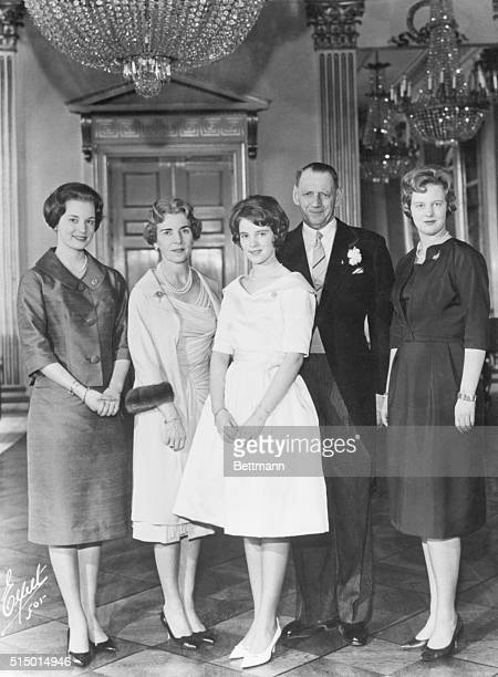 King and Kin Fredensborg Denmark Gathered in the Fredensborg Castle in the Northern Zealand area of Denmark members of the Danish royal family stand...
