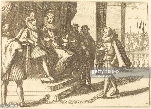 King and Queen in Consultation about the Turks, 1612. Artist Jacques Callot.