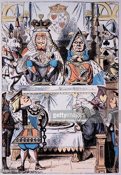 King and Queen of Hearts at the trial of the Knave of Hearts Alice's Adventure in Wonderland by Lewis Carroll HandColored Illustration Circa 1865