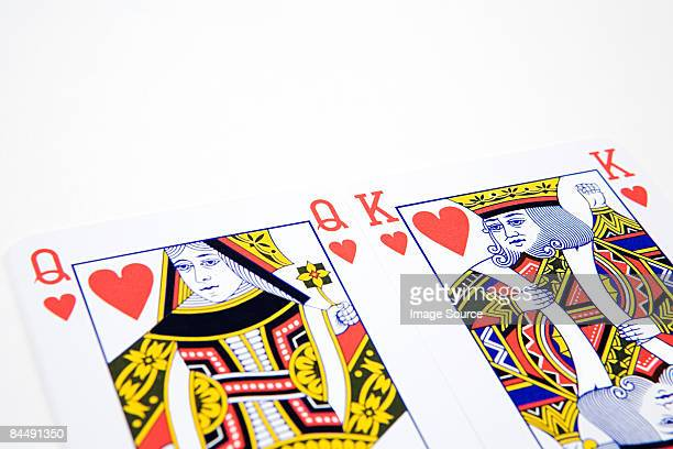 king and queen of hearts - hearts playing card stock photos and pictures