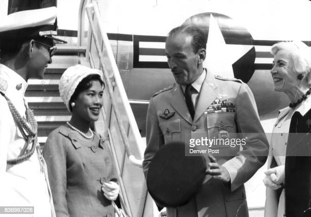 King and Queen of Thailand Arrive in Colorado Springs Gen. Laurence S. Kuter, commander of the North American Defense Command, and his wife greet...