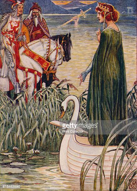 King Arthur asks the Lady of the Lake for the sword Excalibur' 1911 Sir Baldwin and the stroke Dolorous The sword Excalibur given by the Lady of the...
