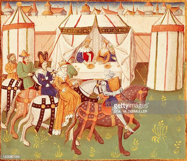 King Arthur feast in Camelot the arrival of the knights miniature from Roman de Tristan by Thomas of Britain manuscript France 15th Century