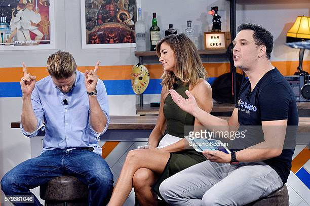 'King Arthur Legend of the Sword' cast member Charlie Hunnam visits with Nikki Novak and Kristian Harloff at the Fandango Studio at San Diego...