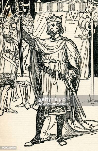 King Arthur legendary British leader Illustration from the book The Gateway to Tennyson published 1910