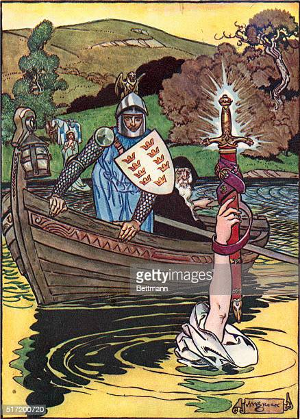 King Arthur receives the magic sword Excalibur Colored wash drawing